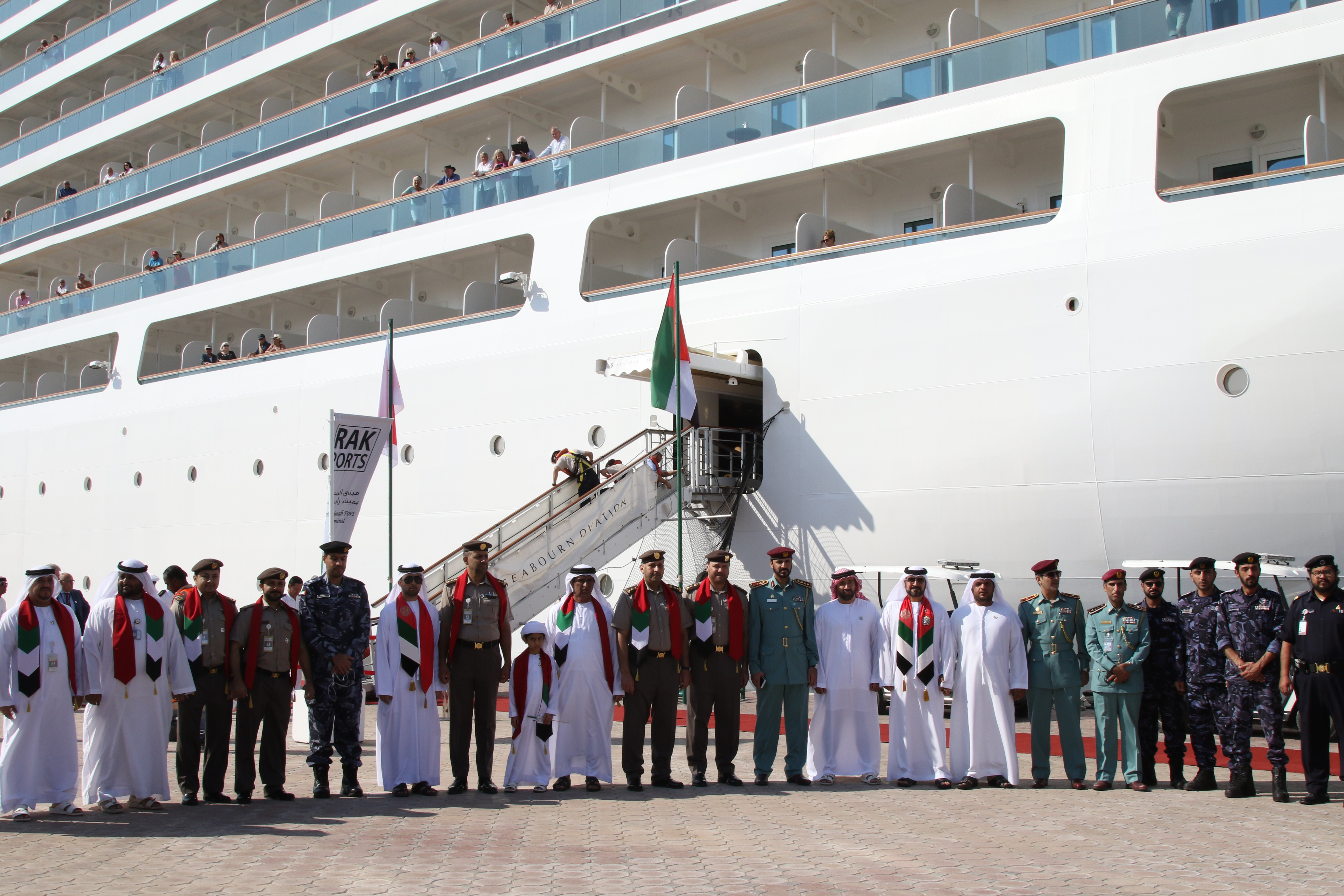 RAK Customs take part in receiving the 'Seabourn Ovation' cruise ship